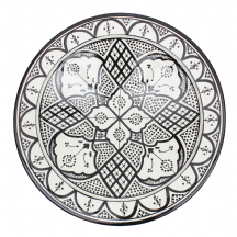 Moroccan Ceramic Plate Handmade Hand Painted Black and White from Safi ( 40 cm / 15.7' )